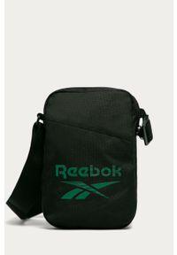Czarna torba Reebok z nadrukiem, casualowa