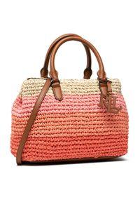 Różowa torebka klasyczna Lauren Ralph Lauren skórzana
