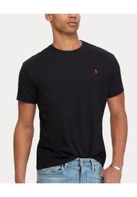 Ralph Lauren - RALPH LAUREN - Czarny t-shirt. Kolor: czarny. Materiał: bawełna. Wzór: haft. Styl: klasyczny