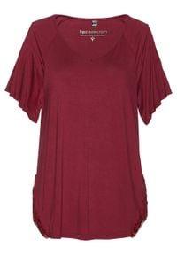 Shirt z wycięciami na ramionach bonprix ciemnoczerwony. Kolor: czerwony. Materiał: koronka. Wzór: koronka