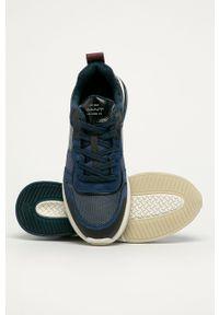 Niebieskie sneakersy GANT na sznurówki, z cholewką, z okrągłym noskiem