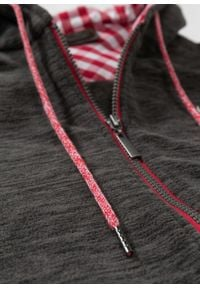 Bluza rozpinana z polaru w ludowym stylu bonprix antracytowy melanż. Typ kołnierza: kaptur. Kolor: szary. Materiał: polar. Wzór: melanż