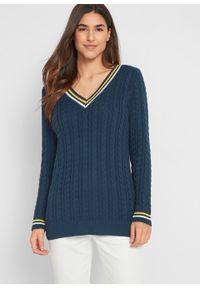 Niebieski sweter bonprix z dekoltem w serek