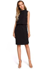 Czarna sukienka wizytowa MOE midi, bez rękawów, ze stójką