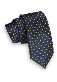 Alties - Ciemny Granatowy Klasyczny Męski Krawat -ALTIES- 6cm, w Żółte Kwadraciki, Figury Geometryczne. Kolor: niebieski, złoty, żółty, wielokolorowy. Materiał: tkanina. Wzór: geometria. Styl: klasyczny