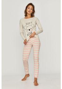 Szara piżama Answear Lab długa, z nadrukiem