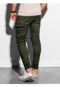 Ombre Clothing - Spodnie męskie joggery P997 - khaki - XXL. Kolor: brązowy. Materiał: elastan, bawełna