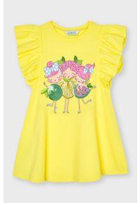 Żółta sukienka Mayoral mini, z aplikacjami, rozkloszowana