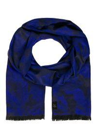 Niebieski szalik Giacomo Conti na jesień, moro