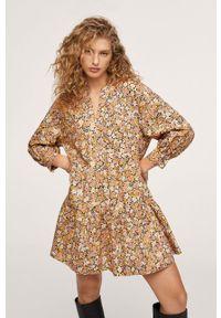 mango - Mango - Sukienka bawełniana Diana. Kolor: żółty. Materiał: bawełna. Długość rękawa: długi rękaw. Typ sukienki: rozkloszowane