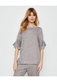 PESERICO - Brązowa bluzka z lnu. Kolor: brązowy. Materiał: len. Wzór: aplikacja