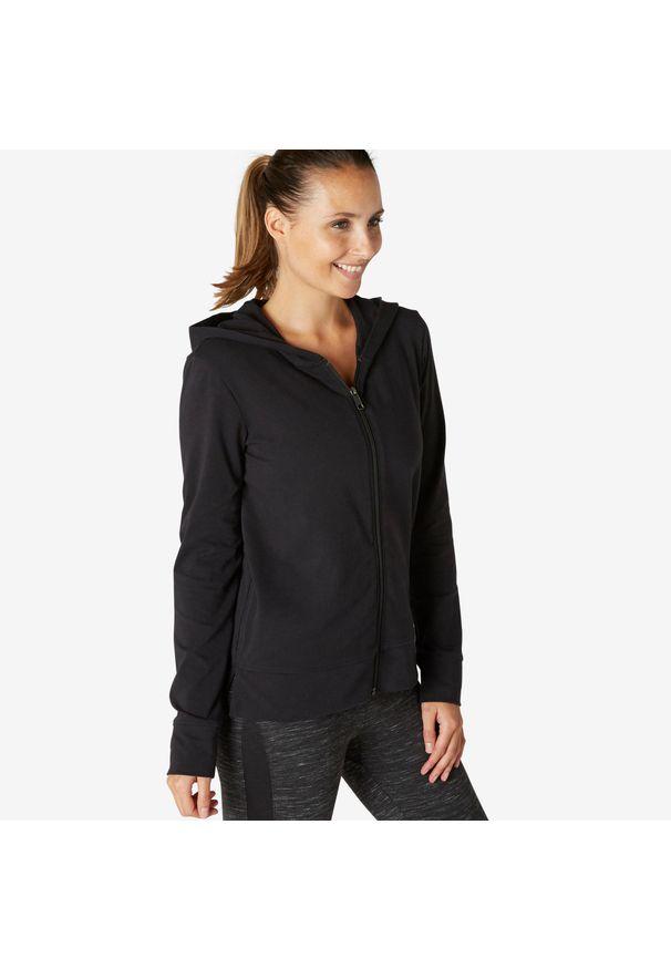 NYAMBA - Bluza na zamek z kapturem fitness. Typ kołnierza: kaptur. Kolor: czarny. Materiał: elastan, bawełna, materiał. Sport: fitness