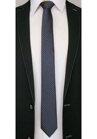 Alties - Granatowy Elegancki Krawat Męski -ALTIES- 6 cm, w Żółte Kwadraciki. Kolor: niebieski, złoty, żółty, wielokolorowy. Materiał: tkanina. Wzór: geometria. Styl: elegancki