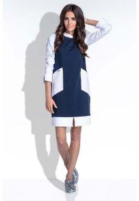Niebieska sukienka dresowa Fobya sportowa, sportowa, z kapturem