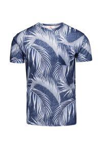 Niebieski t-shirt Mc2 Saint Barth z okrągłym kołnierzem, z aplikacjami