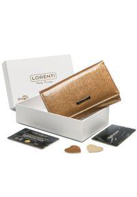 LORENTI - Portfel damski złoty Lorenti 398905-SH-2944 CHAMP. Kolor: złoty. Materiał: skóra