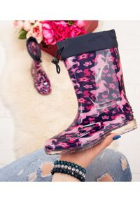 LANO - Kalosze dziecięce Lano FMTT-09 Pink/Navy. Zapięcie: bez zapięcia. Materiał: tkanina, guma. Szerokość cholewki: normalna