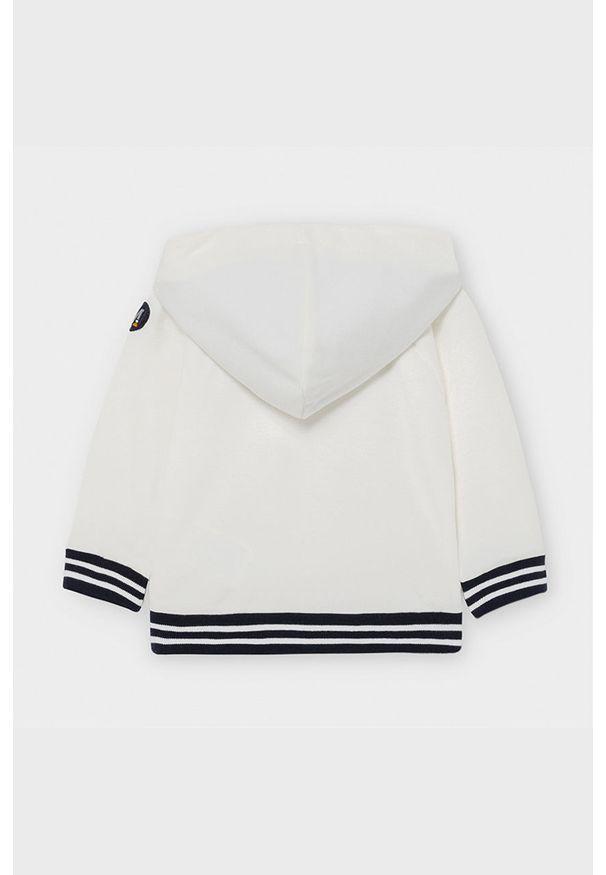 Biała bluza Mayoral z kapturem, z nadrukiem