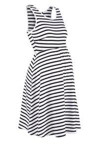 Sukienka ciążowa z dżerseju w paski bonprix czarno-biały w paski. Kolekcja: moda ciążowa. Kolor: czarny. Materiał: jersey. Wzór: paski