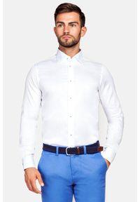 Lancerto - Koszula Biała Chiara 2. Kolor: biały. Materiał: bawełna, jedwab, tkanina, wełna. Wzór: kwiaty, ze splotem, gładki. Styl: wizytowy