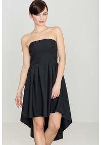 Czarna sukienka Katrus z odkrytymi ramionami