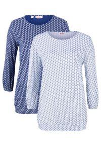 Shirt z nadrukiem, rękawy 3/4 (2 szt. w opak.) bonprix biały + kobaltowy z nadrukiem. Kolor: biały. Wzór: nadruk