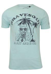 Męska, Zielona Koszulka (T-shirt) - Brave Soul - Hipis pod Palmą. Okazja: na co dzień. Kolor: zielony. Materiał: bawełna. Wzór: nadruk. Styl: casual