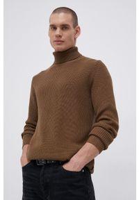 Premium by Jack&Jones - Sweter bawełniany. Typ kołnierza: golf. Kolor: zielony. Materiał: bawełna