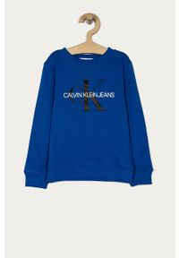 Niebieska bluza Calvin Klein Jeans z nadrukiem, casualowa, na co dzień