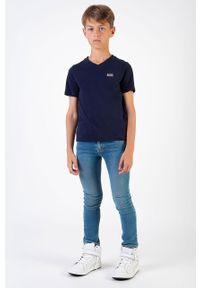 Niebieski t-shirt BOSS casualowy, na co dzień