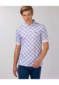 Lacoste - LACOSTE - Koszulka polo w kratę Regular Fit. Typ kołnierza: polo. Kolor: biały. Materiał: bawełna, prążkowany. Wzór: aplikacja, nadruk. Styl: klasyczny