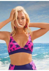 Bikini bustier (2 części) bonprix niebiesko-różowy z nadrukiem. Kolor: niebieski. Wzór: nadruk