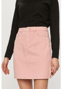 Różowa spódnica Vila gładkie, casualowa, na co dzień