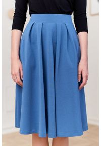 Marie Zélie - Spódnica Ada szaroniebieska. Kolor: niebieski. Materiał: bawełna, dzianina, guma, elastan