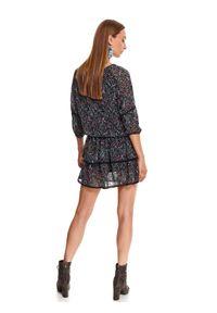 Czarna sukienka TOP SECRET koszulowa, z nadrukiem