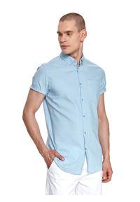 Niebieska koszula TOP SECRET z krótkim rękawem, krótka