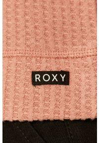 Różowy sweter Roxy krótki, z okrągłym kołnierzem, z długim rękawem