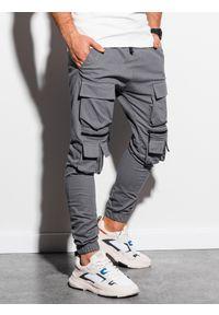 Ombre Clothing - Spodnie męskie joggery P995 - szare - XXL. Kolor: szary. Materiał: bawełna, elastan #4