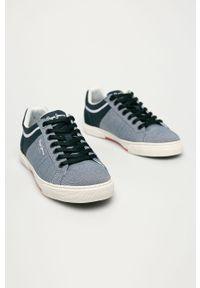 Niebieskie sneakersy Pepe Jeans z okrągłym noskiem, z cholewką, na sznurówki