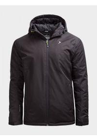 Czarna kurtka narciarska outhorn ze stójką, na zimę