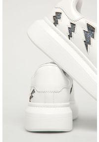 Białe buty sportowe Aldo z cholewką, na średnim obcasie, na sznurówki, na obcasie