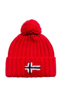 Czerwona czapka Napapijri z aplikacjami