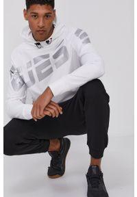 Guess Jeans - Bluza. Kolor: biały. Materiał: jeans. Długość rękawa: raglanowy rękaw. Wzór: nadruk