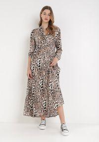 Born2be - Beżowa Sukienka Adolia. Kolor: beżowy. Długość rękawa: długi rękaw. Wzór: motyw zwierzęcy. Typ sukienki: koszulowe. Długość: maxi