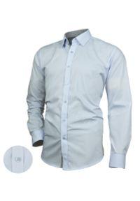 Niebieska elegancka koszula Desire długa, z długim rękawem, z aplikacjami