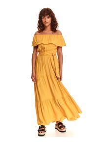 TOP SECRET - Sukienka z falbaną i wiązaniem. Kolor: żółty. Materiał: dzianina. Sezon: lato. Typ sukienki: z odkrytymi ramionami. Styl: wakacyjny. Długość: maxi