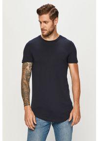 Niebieski t-shirt Tom Tailor Denim z okrągłym kołnierzem, casualowy, na co dzień