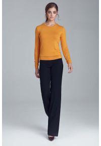 Nife - Musztardowa Bluzka z Długim Rękawem. Kolor: żółty. Materiał: wiskoza, elastan. Długość rękawa: długi rękaw. Długość: długie