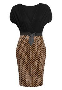 Sukienka z dżerseju bonprix czarno-brązowy wzorzysty. Typ kołnierza: kokarda. Kolor: czarny. Materiał: jersey