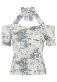 Shirt cold-shoulder batikowy bonprix szary batikowy. Kolor: szary. Styl: elegancki